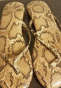 Yosi Samra Rivington Serpent Leather Flip Flop